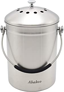 Abakoo Stainless Steel Compost Bin for Kitchen Countertop Compost Bucket Kitchen Pail Compost with Lid 1.3 Gallon-Includes...