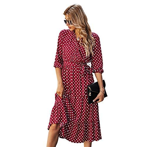 Tonxda Vestido bohemio para mujer de verano, manga 3/4, elegante, maxivestido con cuello en V, volantes, retro, manga corta rojo L