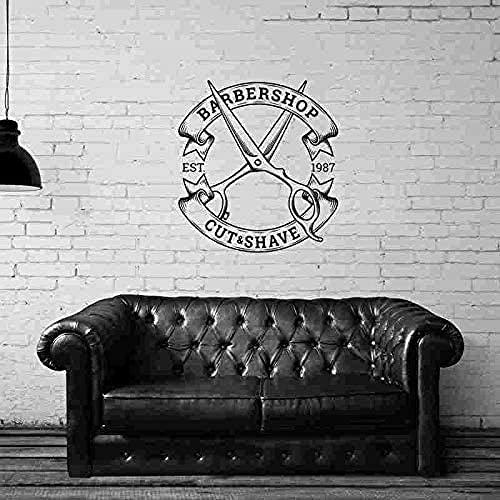87x94cm barbiere adesivo personalizzato costola pane decalcomania poster vinile decorazione della parete di arte decorazione della finestra taglio di capelli rasoio decalcomania