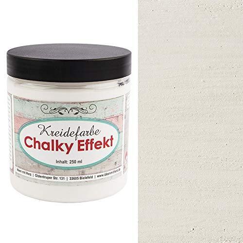 Ideen mit Herz Chalky Effekt Kreidefarbe, 250ml | hochdeckend | ultramatt | auf Wasser-Basis | Kreide-Farbe für Shabby-Chic & Vintage-Effekt (antikweiß)