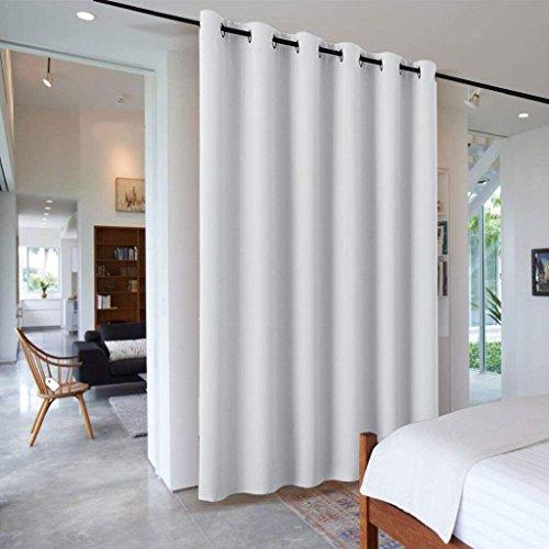 PONY DANCE Separadores Ambientes Interior Salon Dormitorio Modernos Blanco Gris/Cortinas Largas Grandes Termicas Aislantes Luz Ruido Paneles Japoneses, 1 Unidad, 243 x 304 cm (Al x An)
