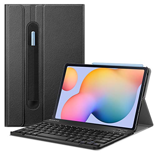 Fintie Keyboard Case for Samsung Galaxy Tab S6 Lite 10.4'' 2020 Model SM-P610 (Wi-Fi) SM-P615 (LTE), Slim Stand Cover with Secure S Pen Holder Detachable Wireless Bluetooth Keyboard, Black