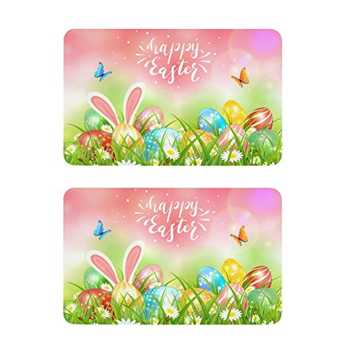 Qilmy 2pcs Easter Eggs Refrigerator Magnets Square Decorative Locker Magnets for Fridge,Office Whiteboard,Cabinet,Dishwasher,Classroom,Home Decoration