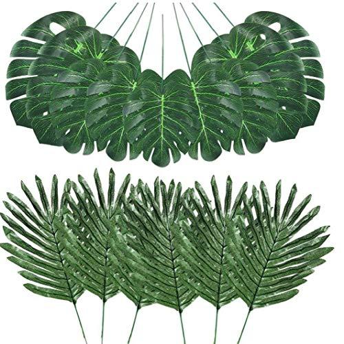 Canjerusof Selva Hojas de simulación Artificiales Hojas de Palma Falso Tropical Plant Stems de Hawai Hojas Verdes 48PCS