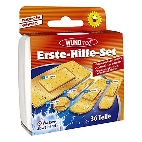 Wundmed Pflaster-Set, 36 teilig, Erste-Hilfe-Set, Wunde, Wundpflaster, Pflaster-Strips, wasserabweisend, 5 verschiedene Größen
