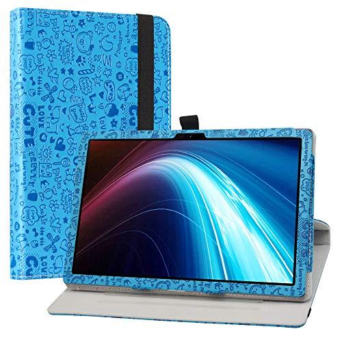 LiuShan Rotary Funda para Winnovo P20 / TECLAST P20HD, Folio Soporte PU Cuero con Funda Caso para 10.1' Dragon Touch Notepad 102 / Blackview Tab8 / AOYODKG A39 Tablet,Azul