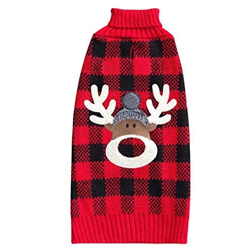 kyeese Hundepullover mit Rentier-Motiv, für kleine Hunde, rotes Büffelkaro mit Loch für die Leine