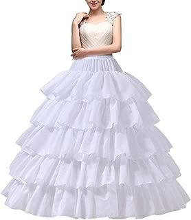 YULUOSHA Women's Crinoline Petticoat 4 Hoop Skirt 5 Ruffles Layers Ball Gown Half Slips Underskirt for Wedding Bridal Dress
