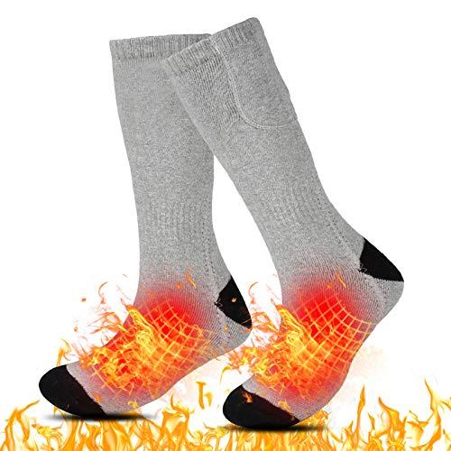 Calcetines calefactables para hombres y mujeres, calcetines eléctricos recargables invierno cálido algodón Calentamiento calcetines 3 niveles de calefacción, 3,7 V 2000 mAh