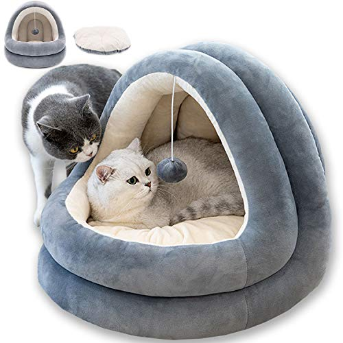 STTQYB Cat Bed for Indoor,Pet Tent Cave Bed for Cats with Removable Washable Cushion Pillow Soft Puppy House for Small Cats Dogs (Grey)