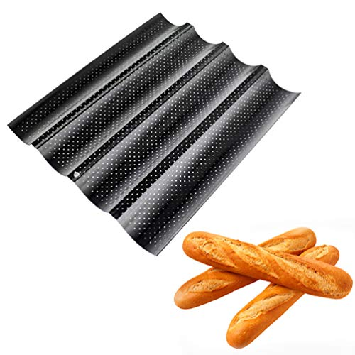 1PC Practical French Bread Baking Mold Bread Wave Baking Tray Cake Baguette Mold Pans 4 Groove Waves Bread Baking Tools black