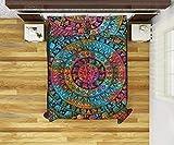Yuvancrafts - Juego de Funda de edredón y Almohada, diseño de Mandala India con Estampado de serigrafía, algodón Hippie, Estilo Bohemio