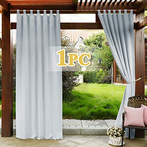 PONY DANCE Outdoor Pergola Curtain - Blackout Gazebo Curtain Panel Light Block for Front Porch Heavy-Duty Window Drapery Waterproof Privacy Protect, 1 PC, 52 x 95-inches, Greyish White