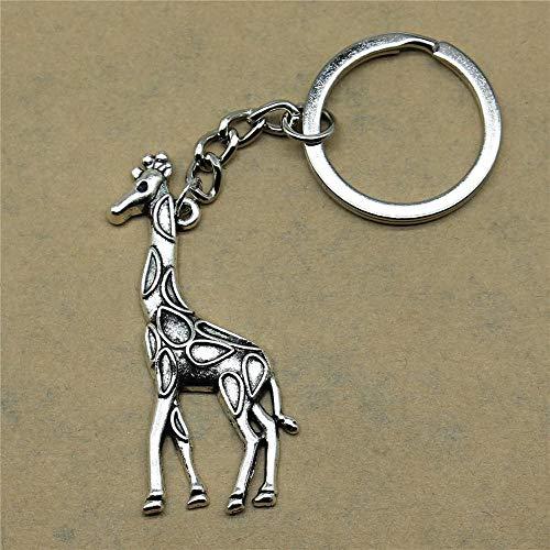Bijv. sleutelhangers Accessoires Sleutelhangers Giraffe schattige geschenken voor mannen Alles Gute verjaardag 53x23mm Hanger Antiek Zilver
