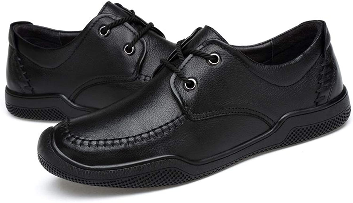 CATEDOT Men's shoes Casual Comfortable Breathable Travel Lightweight leather shoes (color   Black, Size   7.5UK)