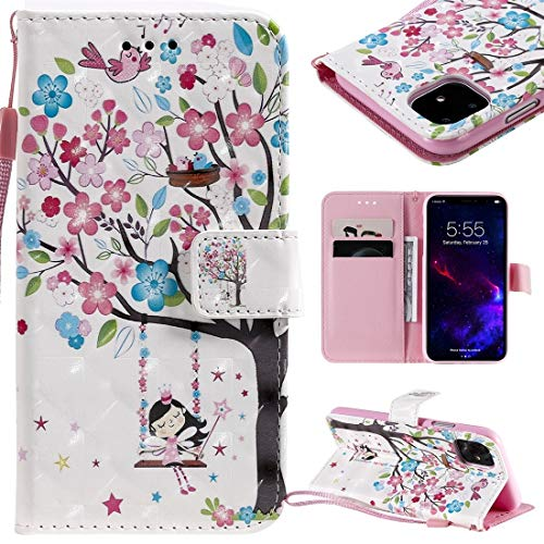 MOLIBAIHUO For IPhone 11 Case, 3D Painted Pattern Horizontal Flip Leather Case for IPhone 11, With Wallet & Holder & Card Slots & Lanyard PHONE CASE (Pattern : Girl under the tree)