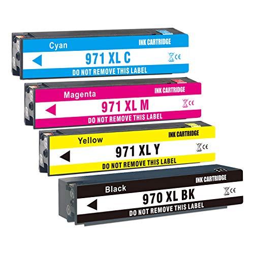 Jagute kompatible für HP 970XL 971XL HP 970 971 Druckerpatronen für HP Officejet Pro X476dw X576dw X451dw X551dw Patronen (1 Schwarz, 1 Cyan, 1 Magenta, 1 Gelb)