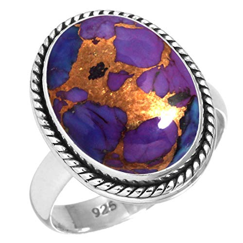 Copper Purple Turquoise Women Jewelry 925 Sterling Silver Ring Size 7.5 (99041_CPT_R7.5)