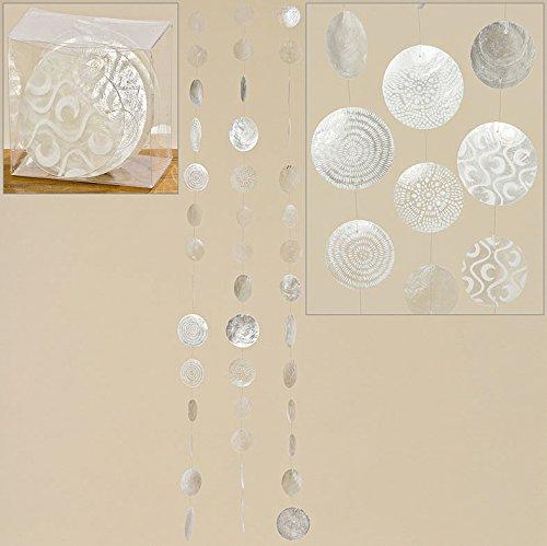 Capiz-Girlande Ornamente weiß 3er Set Zimmergirlande 120 cm