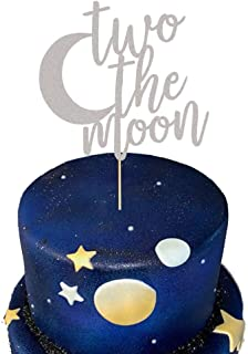 Two The Moon Cake Topper 2nd Birthday Cake Topper I Love You To The Moon And Back 2 Birthday Party Supplies Decorations