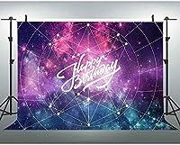 新しい7x5ftハッピーバースデーの背景銀河写真の背景星空のテーマ誕生日パーティーの写真撮影の小道具 0171