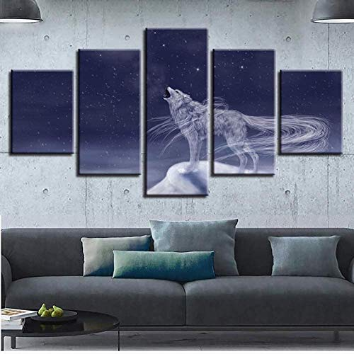 Hnyyj 5 Cinco Pinturas Wolf and Starry Sky Night Canvas Pictures HD Impresión Decoración Room Wall Art Pieces Scene Modular Animal Poster