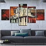 Wuwenw Sala De Decoración Modular Pinturas Murales Instrumentos Musicales De 5 Piezas Teclas De Guitarra Y Piano Cuadros Lienzos Grabados En Hd Cuadros Artísticos, 12X16 / 24/32 Pulgadas, Sin Marco