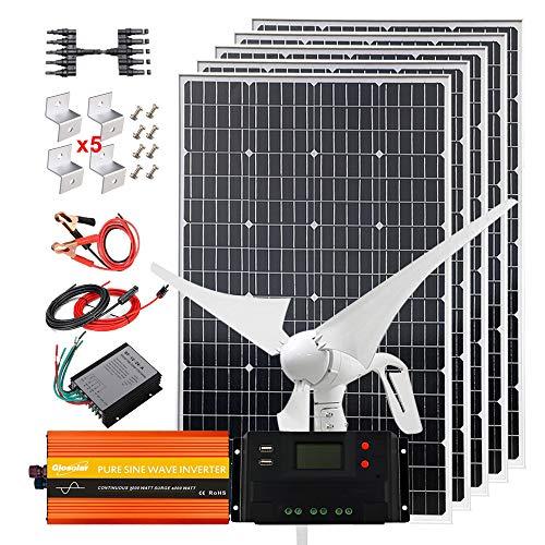 Kit de energía eólica solar de 900W, sistema completo de 12V con inversor de 2000W: generador de turbina de viento de 400W+5 paneles solares mono de 100W de alta eficiencia+controlador+ cable+soporte