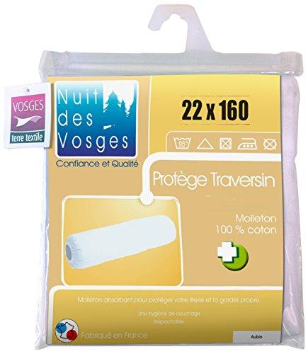 Nuit des Vosges 2072839 Aubin Sous-Taie Ouverte Elastiquee de Traversin Absorbante Molleton/Coton Blanc 22 x 160 cm