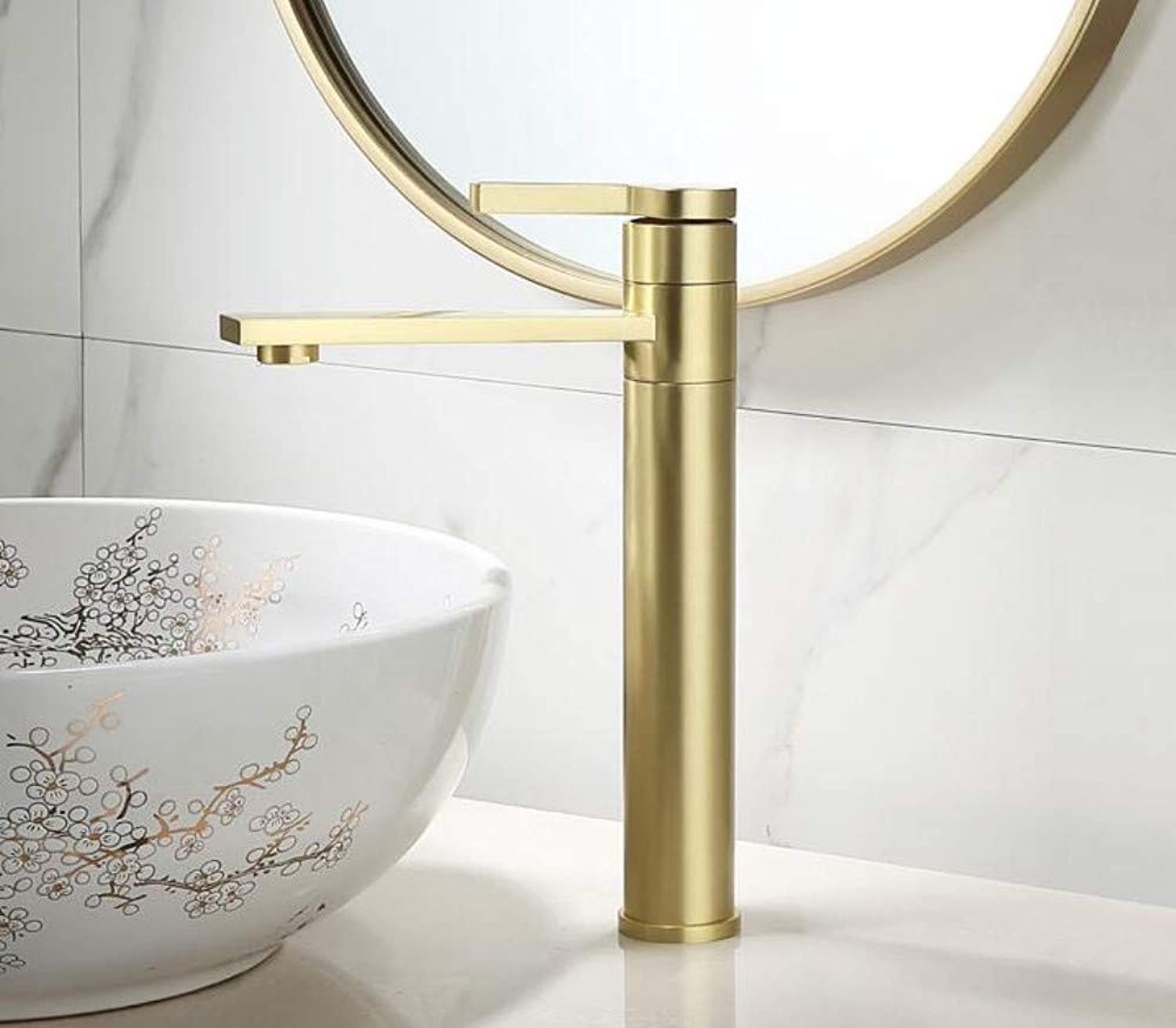 Faucetnordic Copper Brushed gold Simple Light Luxury Wash Basin On The Table Hot and Cold redating Brass Faucet