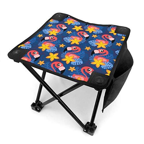 COMMER Exotic Flamingo Flora y Fauna Taburete plegable ligero portátil para acampar con bolsa de transporte, taburete de pesca para pesca, senderismo, jardinería y playa, 30,5 x 30,5 cm