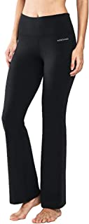 Power Flex Cotton Boot Cut Yoga Pants Workout Running Stretch Bootleg Yoga Pants with Inner Pocket