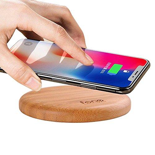 WoodPuck: Bambus-Ausgabe-schnelles drahtloses Ladegerät, 7.5W für iPhone XS, XS Max, XR, X, 8, 8 Plus, 10W Schnellaufladungs-Matte (kein Wechselstrom-Adapter) für Samsung Galaxy S9, S9 Plus S8, S8 Plus S7, S7 Edge, S6 Edge Plus Note 9, 8, 5 und 5W für Andere Qi Fähige Handy