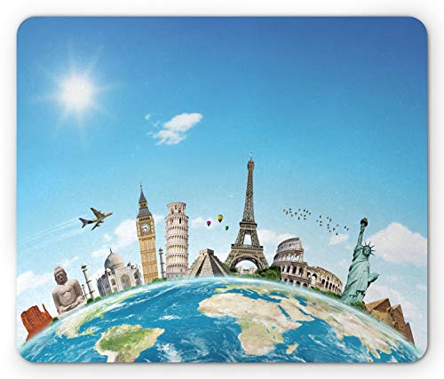 Lunarable Travel Mouse Pad, Famous Monuments of Pisa Taj Mahal Giza Pyramids Paris Landmarks Theme, Rectangle Non-Slip Rubber Mousepad, Standard Size, Blue White