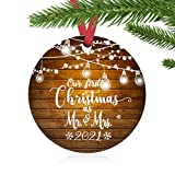 ZUNON First Christmas Ornaments 2021 Our First Christmas as Mr & Mrs Couple Married Wedding Decoration 3' Ornament (Lights Mr & Mrs)