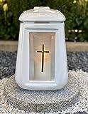 Keramiklaterne Grablampe Grablicht Grablaterne Grabdekoration Grabschmuck Gartenlampe Kerze incl.Grabkerze - Höchste Qualität
