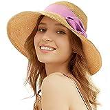 Tacobear Pamela Mujer Verano Sombrero Plegable Sombrero de Playa ala Ancha Sombrero de Sol Gorro de Paja Viaje Vacaciones Protección UV para Mujer (Rosa)
