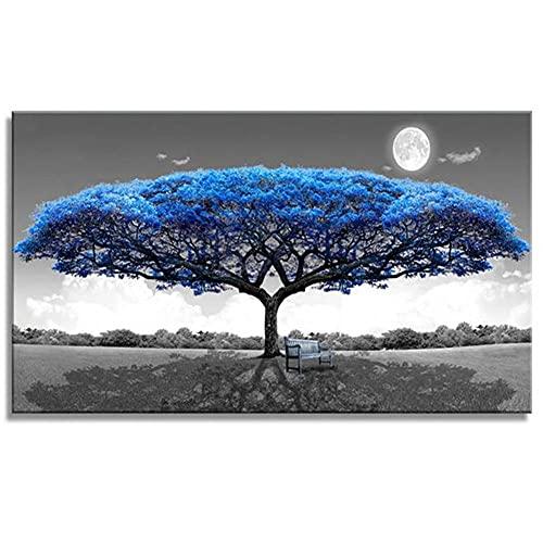 5D Diamond Painting Large Size Full drill Kits Luna de árbol azul DIY Pintura de Diamante Rhinestone bordado artes para decoración de la pared del hogar dádiva(30x60cm/12x24in Round Drill)