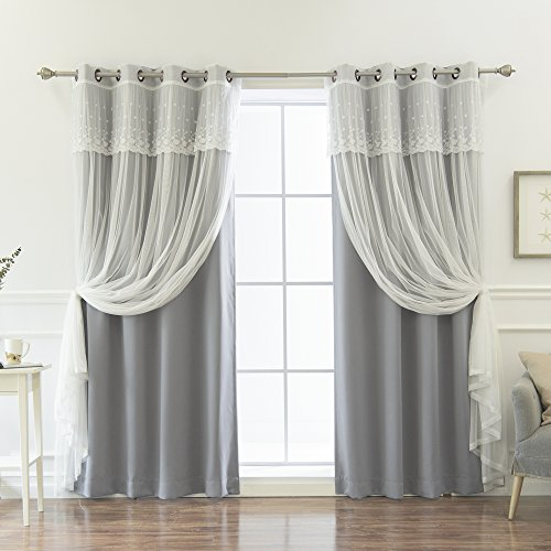 """Best Home Fashion Mix & Match Tulle Sheer with Attached Valance & Solid Blackout Curtain Set – Stainless Steel Nickel Grommet Top – Grey – 52"""" W x 96"""" L – (2 Curtains and 2 Sheer Curtains)"""