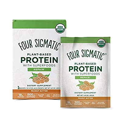 Four Sigmatic Peanut Butter Superfood Protein, Organic Plant-Based Protein with Chaga Mushroom & Ashwagandha, Supports Immune Function & Muscle Repair, Portable, 1.41 Ounce (Pack of 10) by AmazonUs/FOUYZ