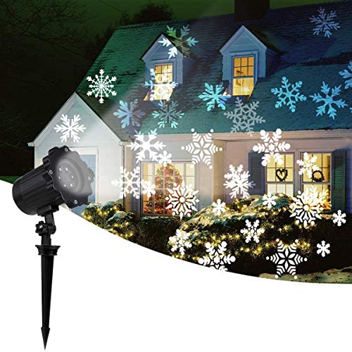 2020 New Moving Snowflake Lights, White Christmas Projector Lights LED Landscape Projection, Indoor & Outdoor Spotlights Decor Stage Irradiation & Garden Tree Wall, Perfect Halloween Holiday Party