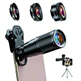Apexel 6 in 1 Phone Lens Kit - 22X Telephoto Lens, 205° Fisheye Lens, 120° Wide Angle Lens & 25X Macro Lens(Screwed Together), Compatible with iPhone 11 8 7 6 6s Plus X Xs/Max XR Samsung