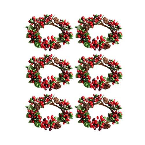 ABOOFAN 6 Stück Weihnachten kerzenring Künstliche Rot Beeren mit Tannenzapfen Teelicht Ring Serviettenringe Halloween Weihnachten Silvester Hochzeit Party Tischdekoration Mittelstücke