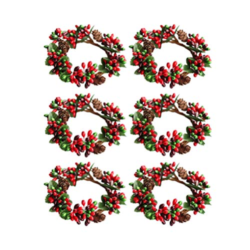 Amosfun 6Pcs Christmas Candle Ring Ornaments Tea Leaf Candle Ring Napkin Rings Home Halloween Christmas Wedding Party Supplies