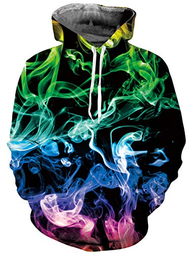 Belovecol Mens Smoke Hoodies 3D Colorful Fire Flame Print Hooded Sweatshirt Novelty Graphic Hip Hop...