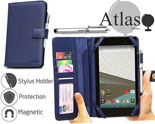 Navitech Blau 7 Zoll bycast Leder Folio Case/Cover/Hülle mit Stylus für das Huawei MediaPad X2 Tablet/Asus MeMO Pad 7 ME572C-1A018A / LG G Pad F 7.0 / Alcatel OneTouch Pixi 3
