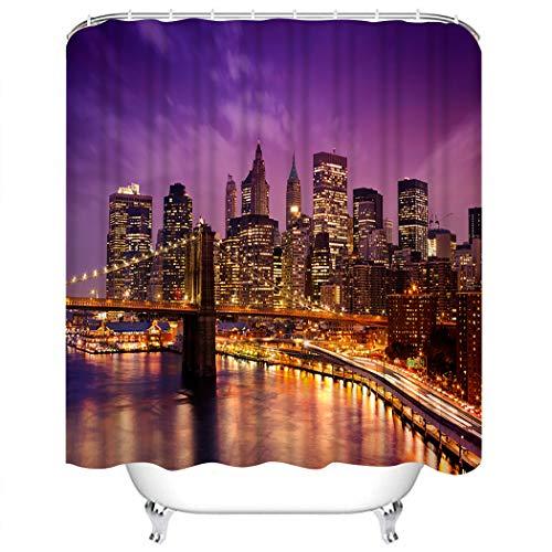 Y·JIANG Cityscape - Juego de cortinas de ducha, diseño de Skyline of Night Downtown de Nueva York, poliéster, lavable, con 12 ganchos, no necesita forro, para el baño, 182,88 x 182,88 cm