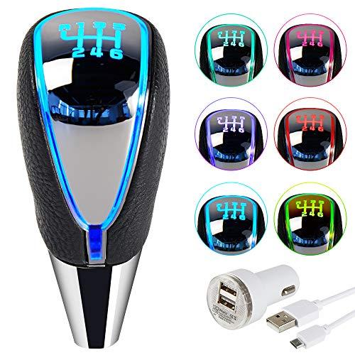 Semoss 7 Colores Luces LED Pomo Palanca de Cambios Sensor de Movimiento 6 Velocidades Manual Automatico Recargable Pomo Universal
