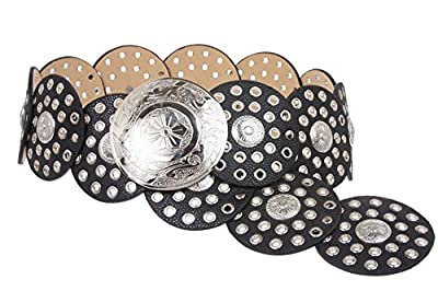 """Women's 3 1/2"""" (90 mm) Wide Boho Disc Concho Leather Belt, Black 