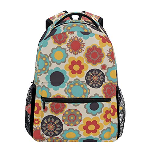 MALPLENA Malpela Tagesrucksack, bunt, runde Blumen, Ethnische Zeichnung, Schulranzen, Wanderrucksack